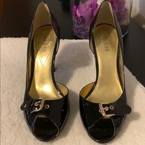 Guess, Black patent leather heels, barely worn.